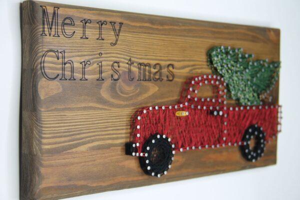 ajándék karácsony faldísz fonalkép madzagkép 78