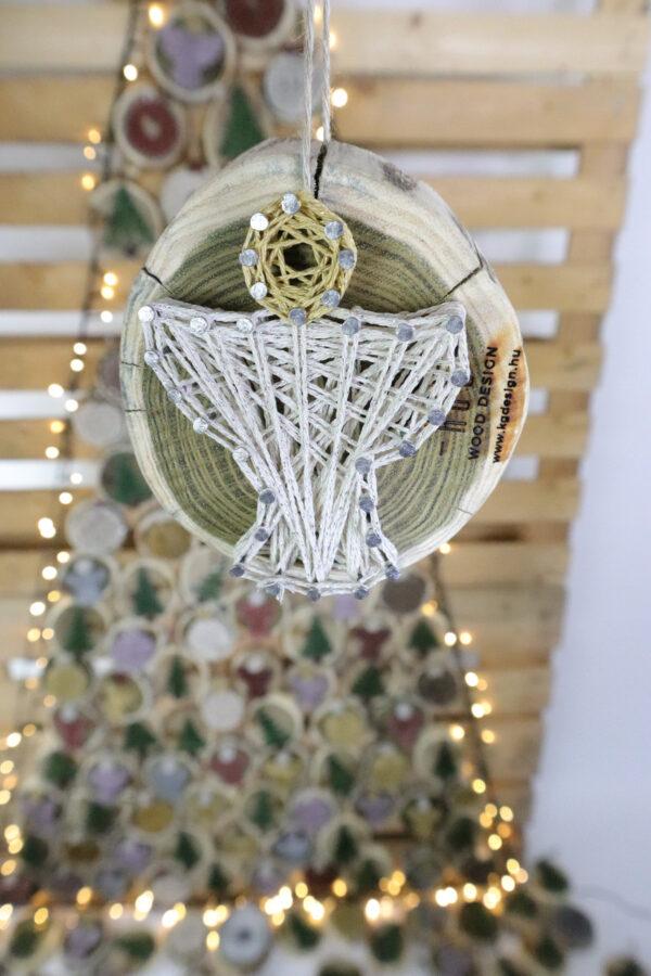 ajándék karácsony karácsonyfadísz faldísz fonálkép madzagkép-60