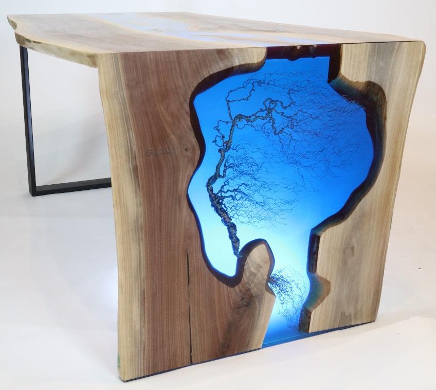 műgyanta asztal ajándék drótfa réz acél alumínium horganyzott