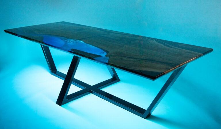 műgyanta led asztal ajándék drótfa réz acél alumínium horgany 116.1