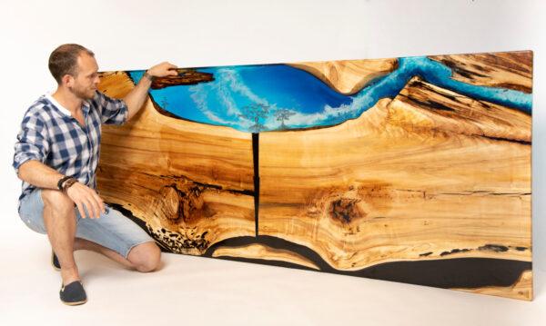 műgyanta led asztal ajándék drótfa réz acél alumínium horgany 116.9