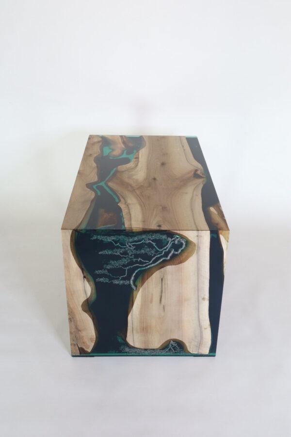 műgyanta led asztal ajándék drótfa réz acél alumínium horgany-117
