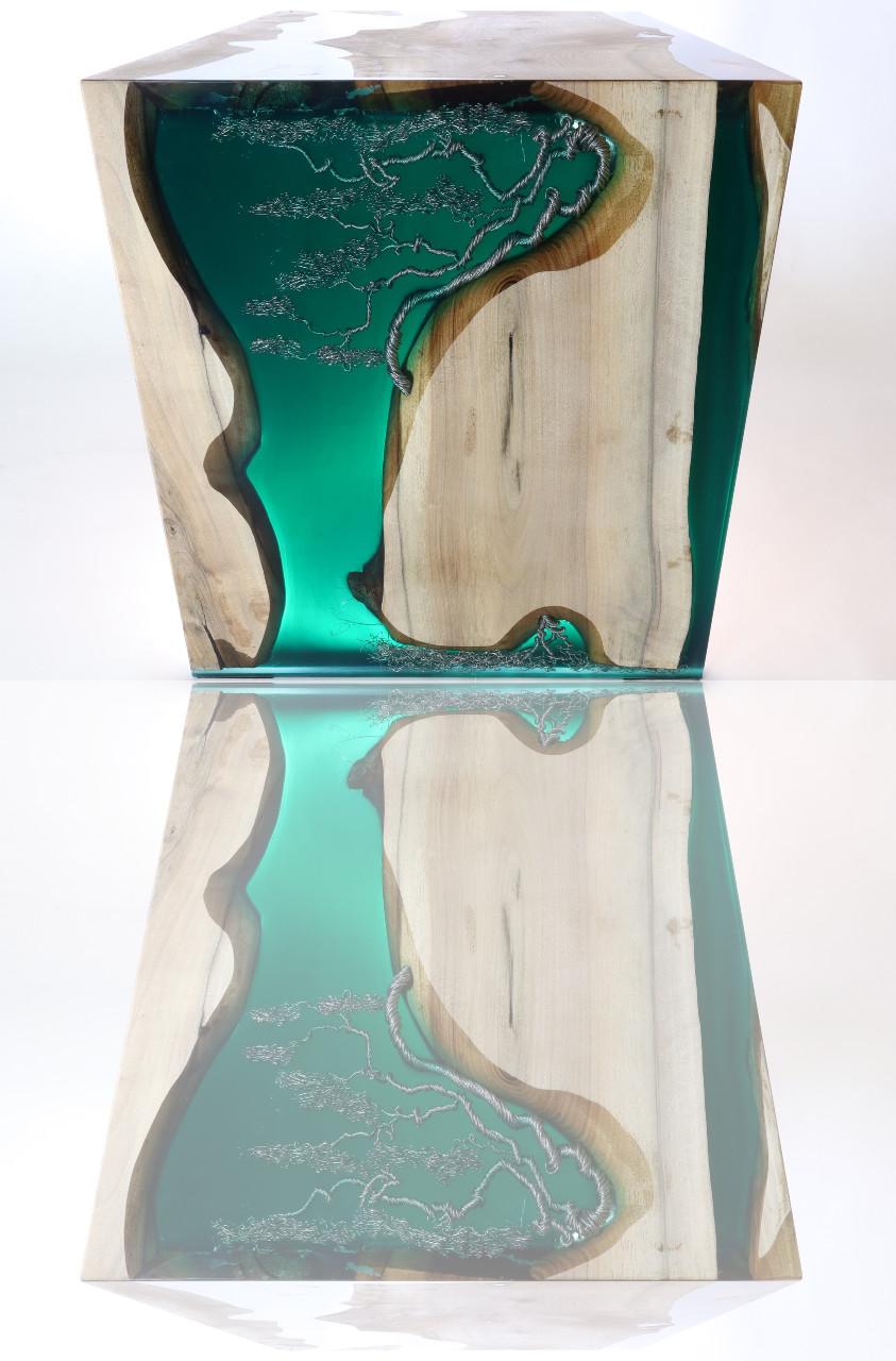 műgyanta led asztal ajándék drótfa réz acél alumínium horgany 117.7